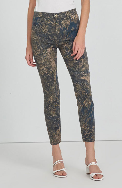 Alana High Rise Crop Skinny in Gold Wave