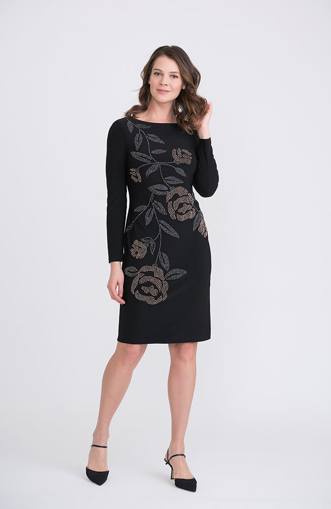 Long Sleeve Dress with Copper and Gold Floral Beading