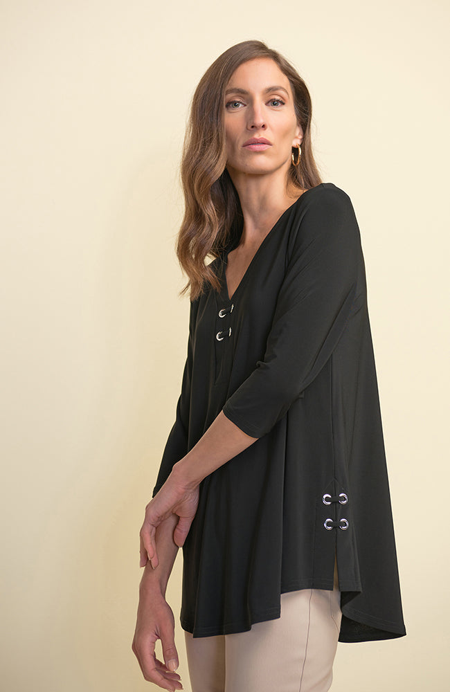 Black V Neck 3/4 Sleeve Tunic