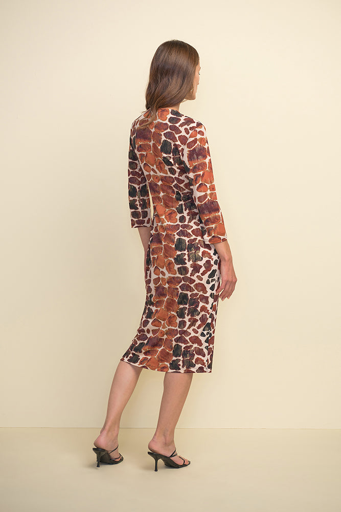 3/4 Sleeve Animal Print Dress with Faux Belt