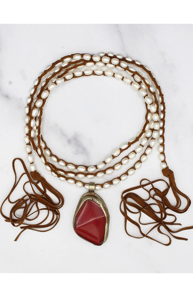Kate Necklace Red Amber
