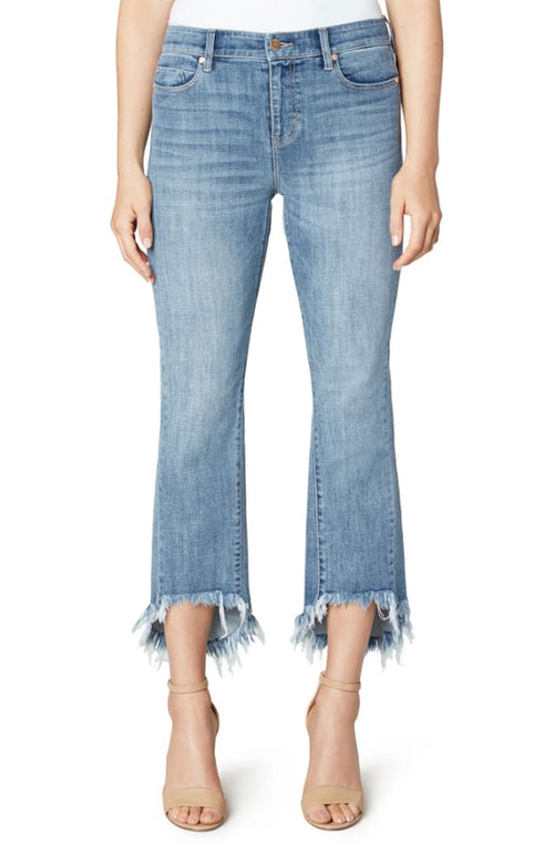 Crop Flare Hi Low Fray Hem Jean