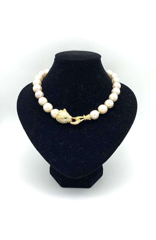 Pearl and Gold Dragon Necklace