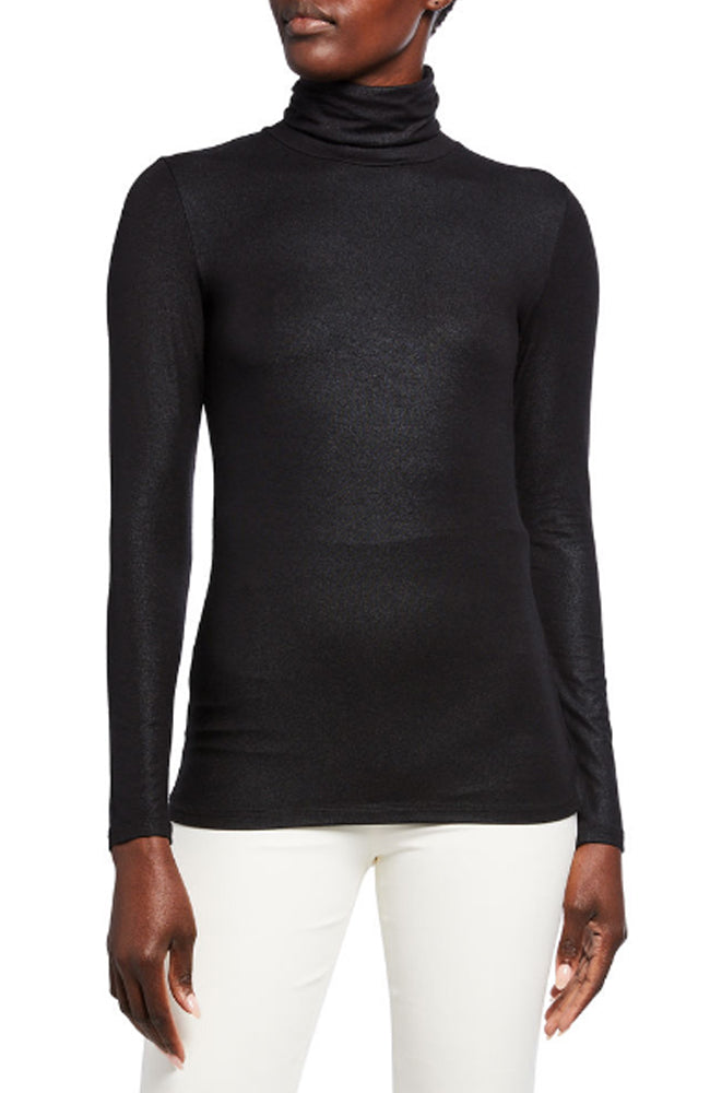 Soft Touch Metallic Long Sleeve Turtleneck Tee