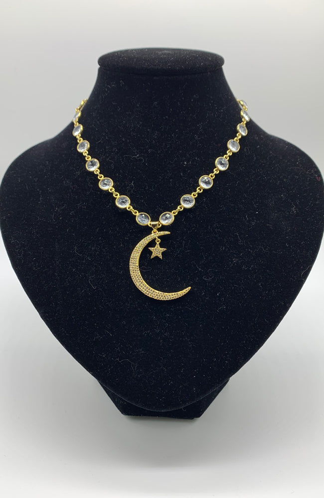 Star & Moon Quartz Coin Necklace