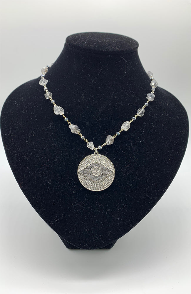 Silver Eye CZ Quartz Necklace