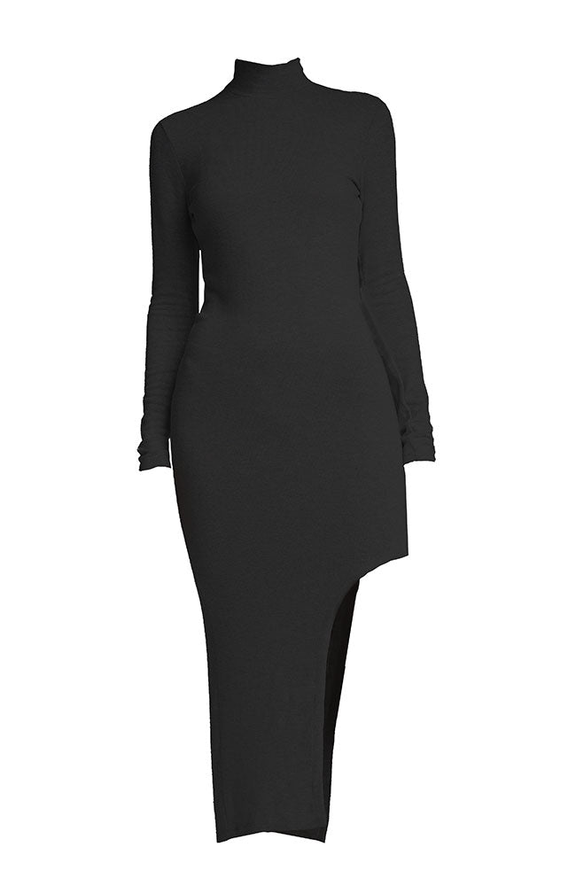 Long Sleeve Cut Out Dress in Black