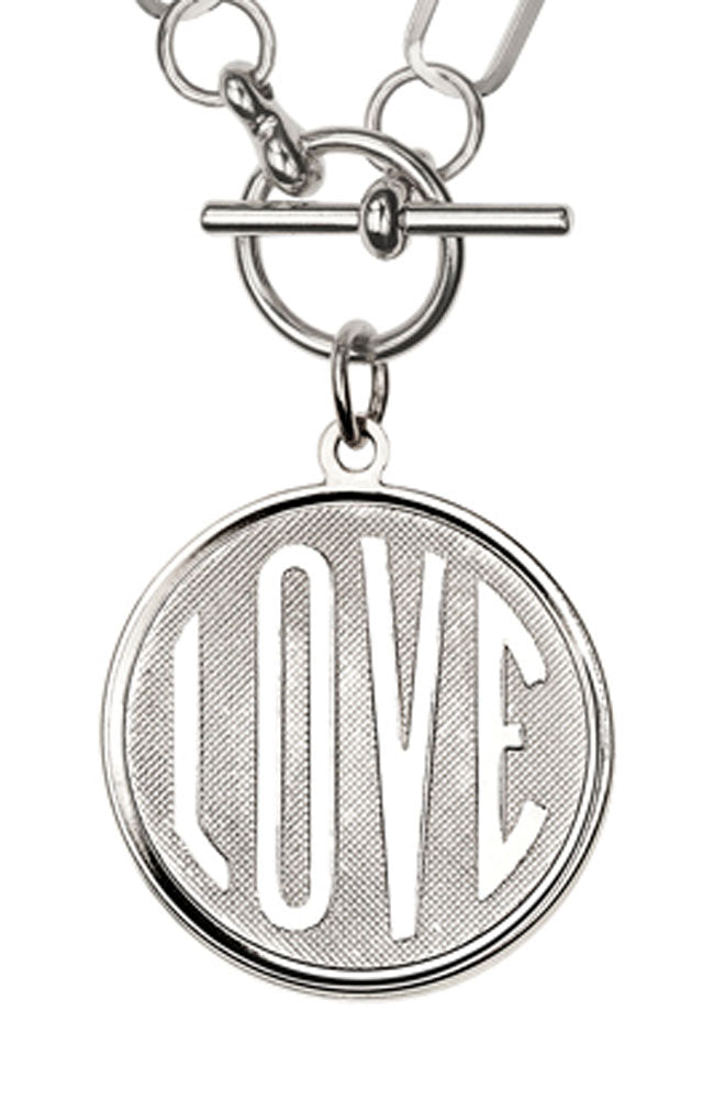 Link Chain Antique Silver Love Necklace