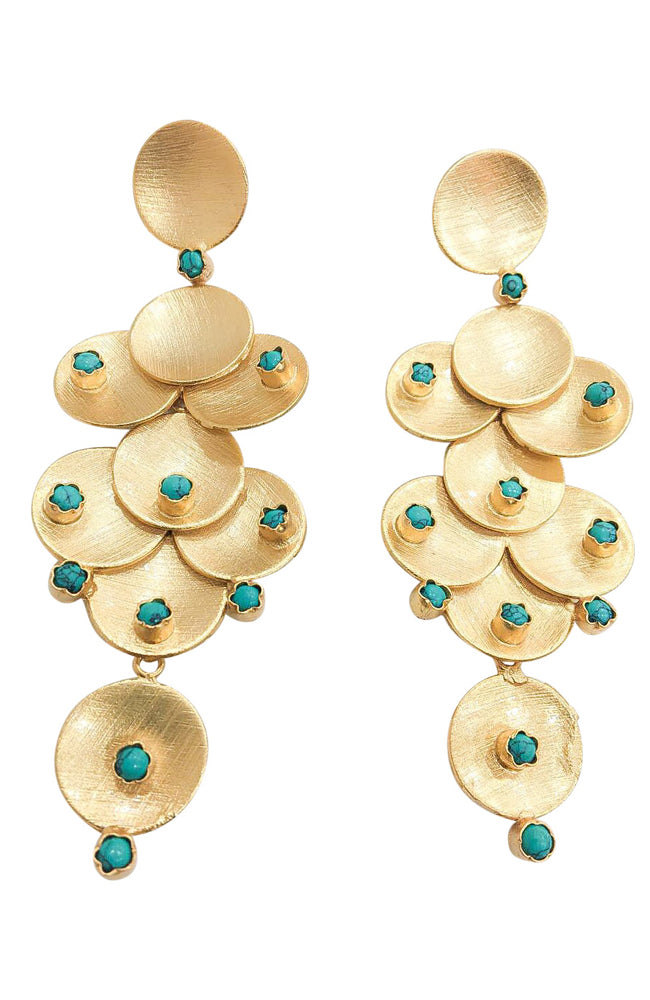 Turquoise Multi Disc Earring