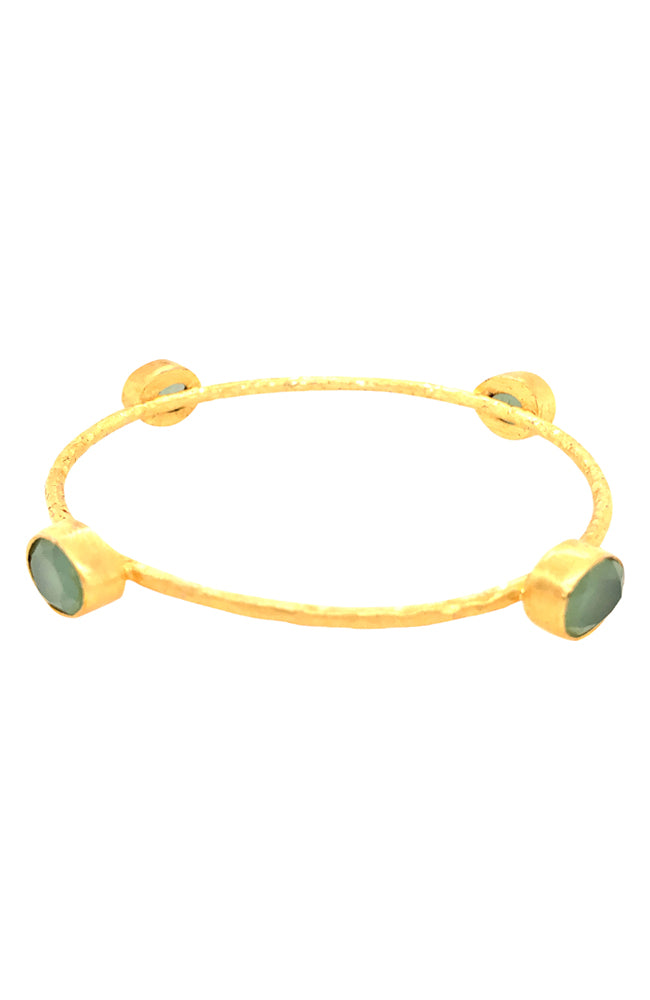 Lime Chalcedony Oval 4 Stone Hammered Bangle