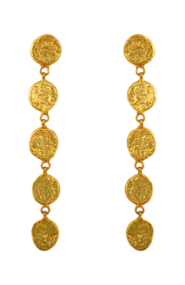 Gold 5 Coin Earring
