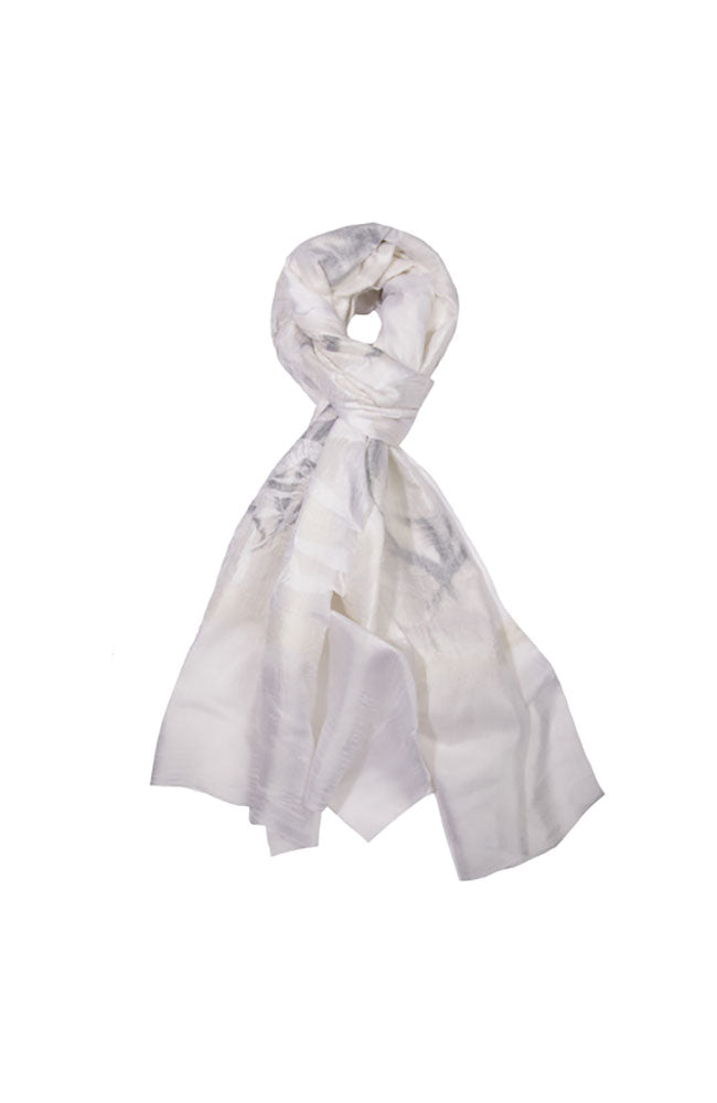 Grey Leaves on White Scarf