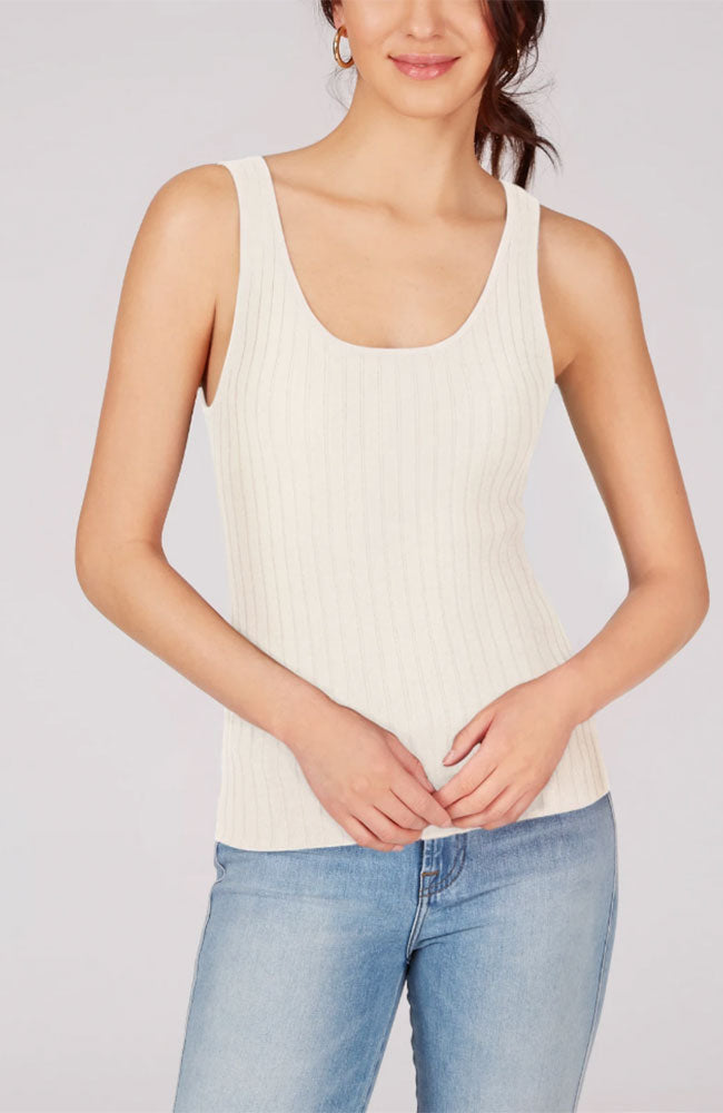 Wide Ribbed Tank in Chalk