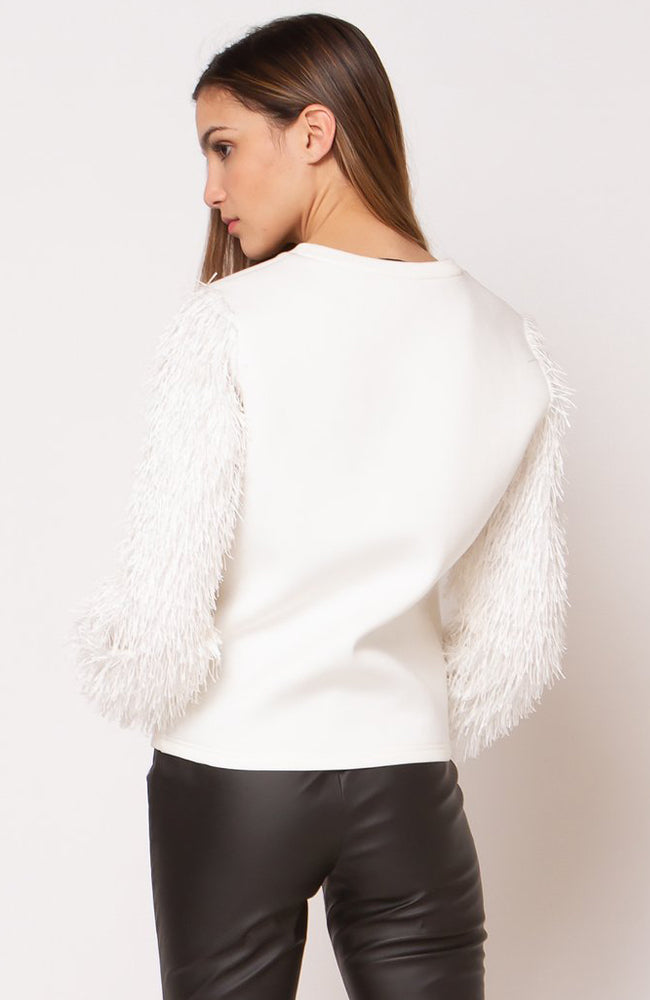 Knit Top w/ Fringe Sleeve