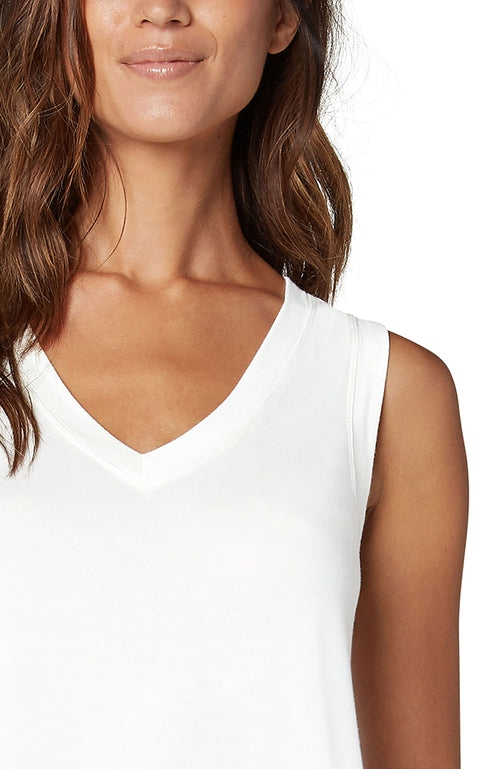 Sleeveless V-Neck Knit Tee White
