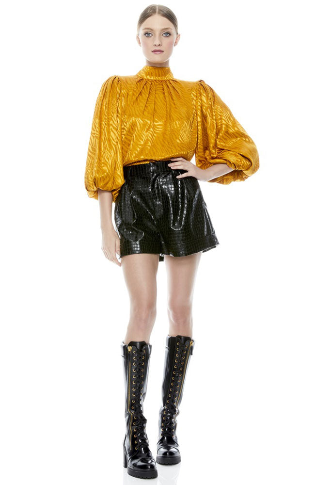 Conry Vegan Leather Pleat Cuff Short
