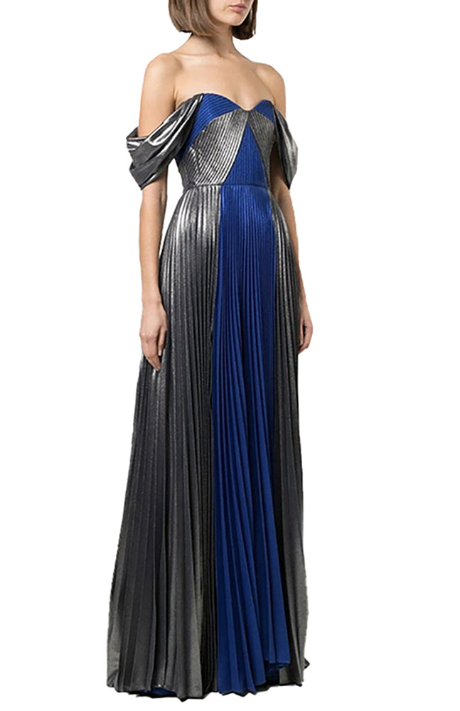 Pleat Gown in Royal