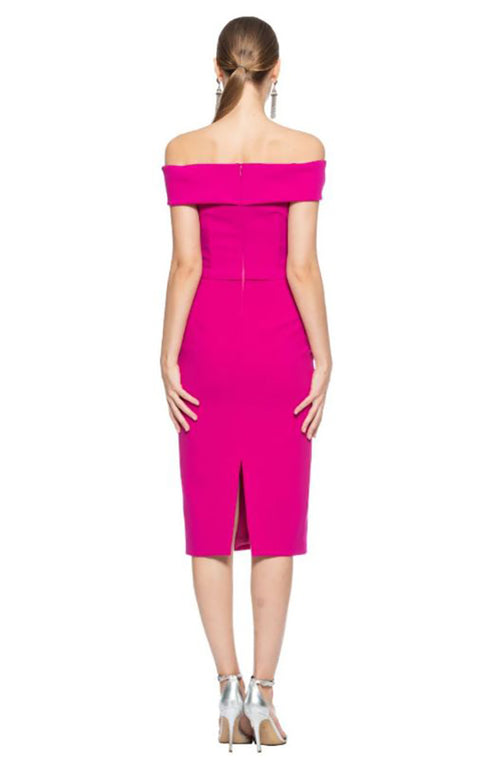 Off the Shoulder Cocktail Dress in Fuschia
