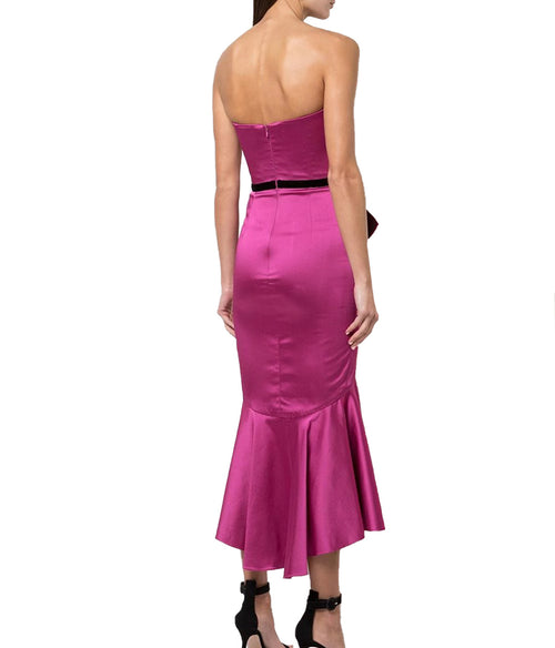 Strapless Cocktail Dress in Fuschia