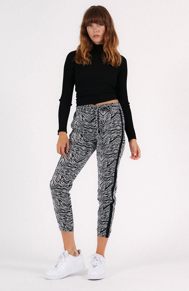 Tiger Sash Tie Pants in Black and White