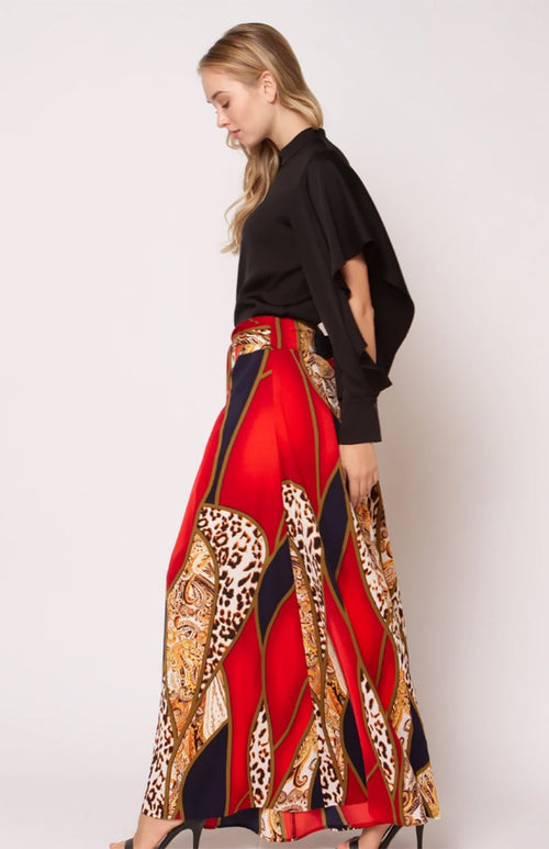 High Waist Palazzo Pants with Leopard and Paisley Print