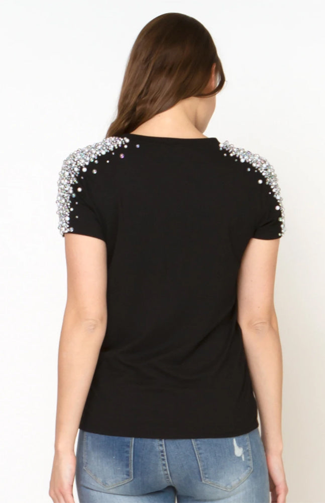 Shoulder Pearl Embellishment Short Sleeve T-shirt