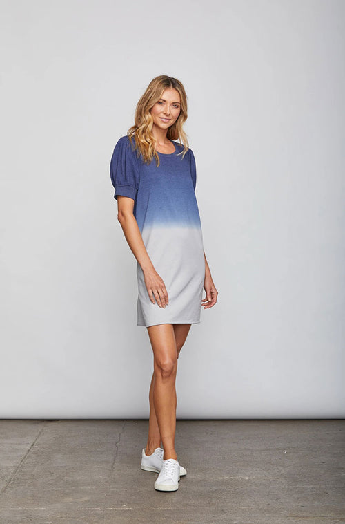 Dora Dress Navy Dip Dye