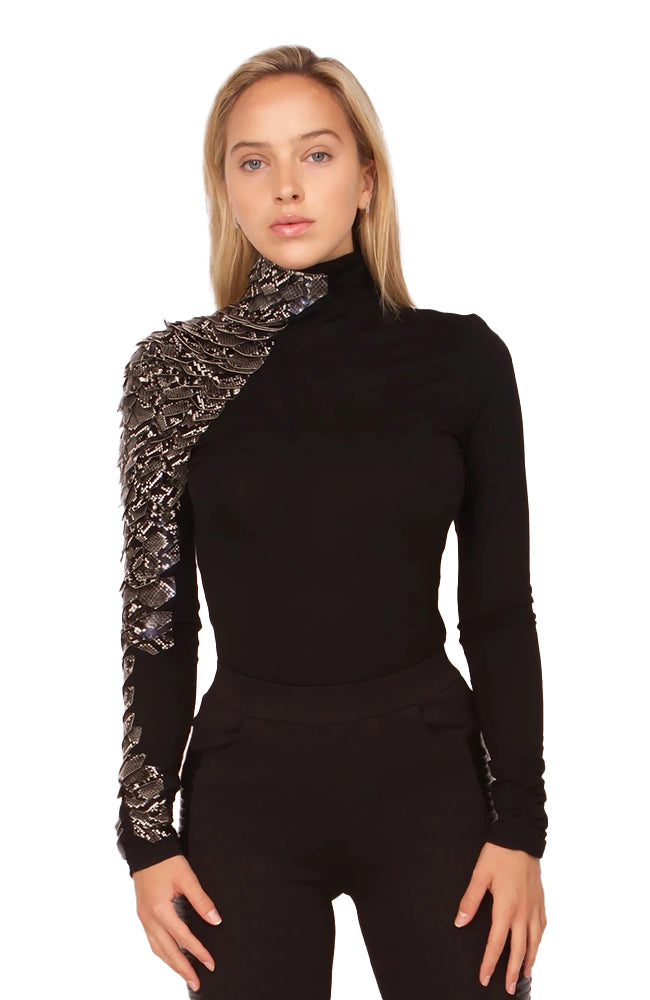 Side Snake Pleather Long Sleeve Top