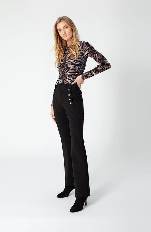Giorgina Button Flared Pants in Black