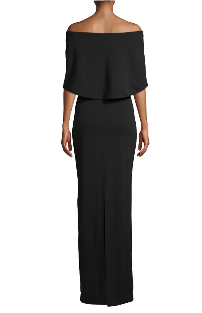 Structured Jersey Cape Gown