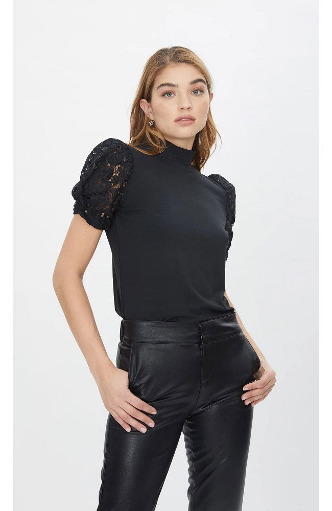 Alanna Combo Lace Top in Black