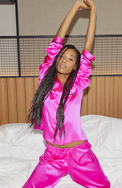 Nikki Pajama Set in Hot Pink
