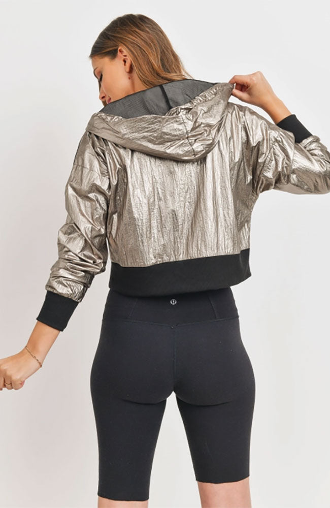 Cropped Metallic Windbreaker