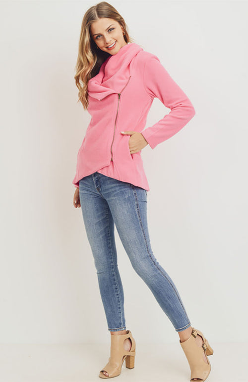 Asymmetrical Polar Fleece Zip Up Jacket