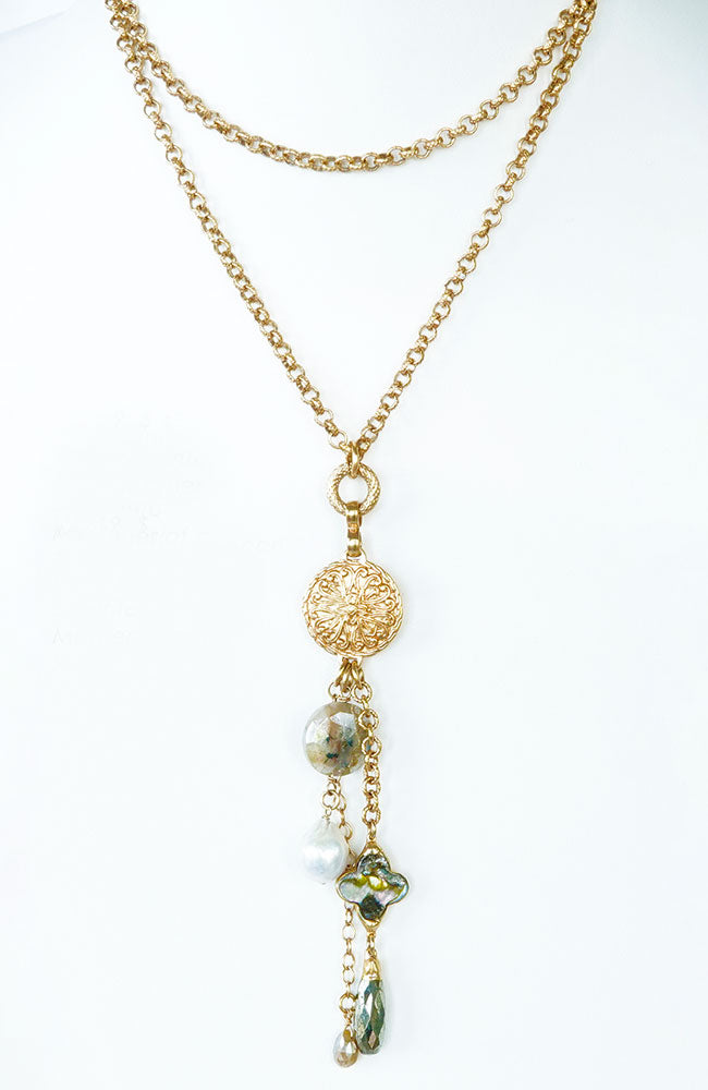 Heavy Chain with Coin and Pearl Drop