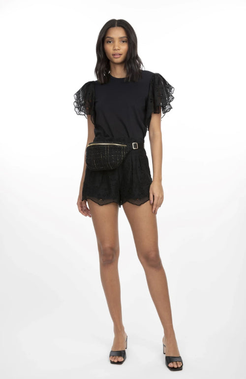 Alexis Embr Combo Short Sleeve Top
