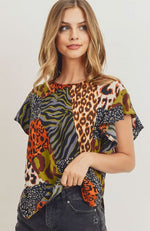 Animal Print Blouse with Ruffled Sleeve