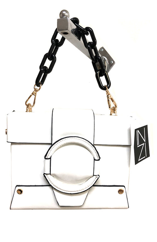 Patent Box Crossbody Handbag