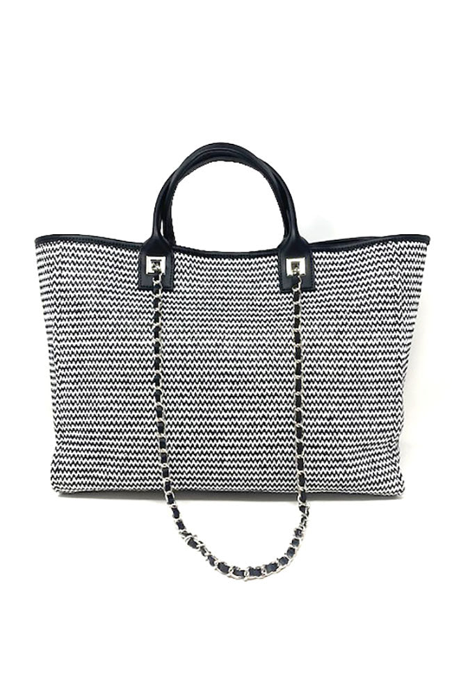 Black White Stripe Handbag