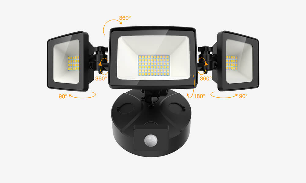 50W LED Security Lights with Motion Sensor 3 Heads Adjustable Wall Lights