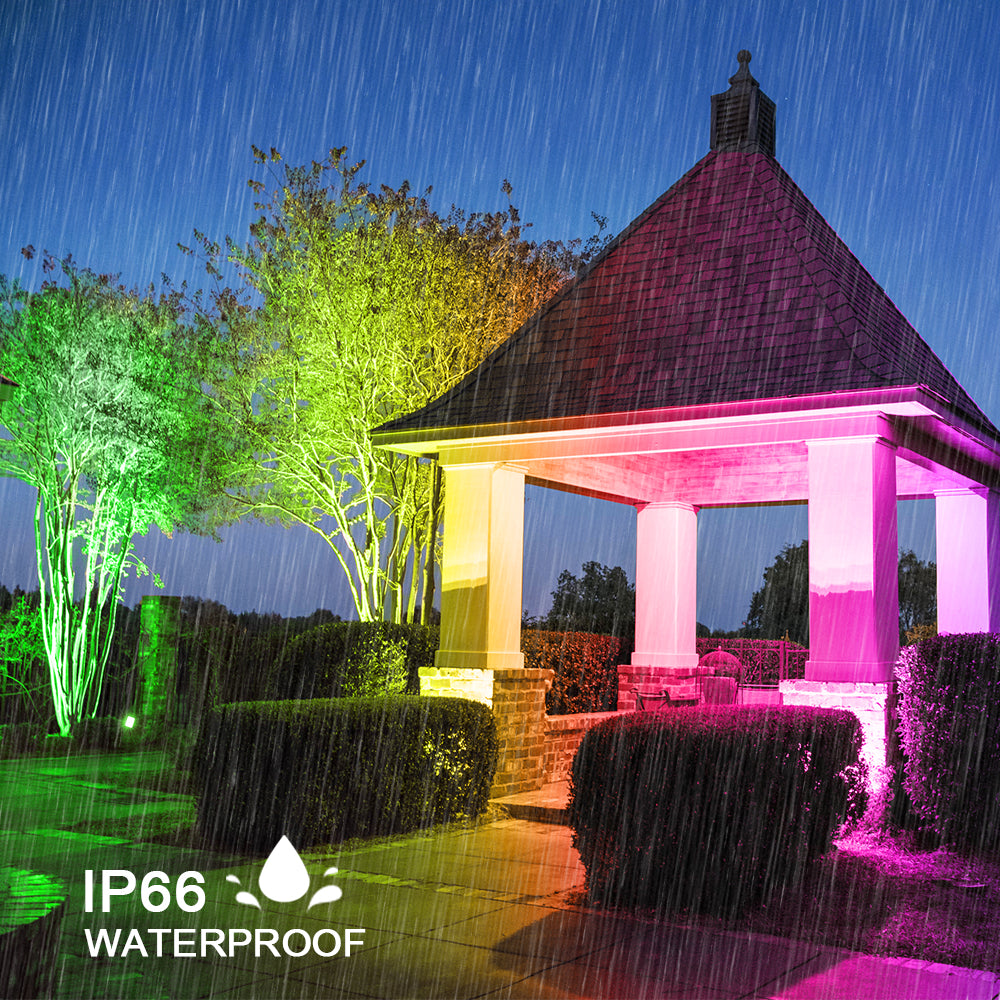 20W LED RGB Floodlights with Remote Control, IP66 Waterproof Dimmable Decorative Coloured Flood Light