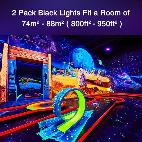 50W UV LED Black Light 2 Pack, UV Floodlight with Plug, IP66 Waterproof Outdoor Ultraviolet Blacklight for Dance Party