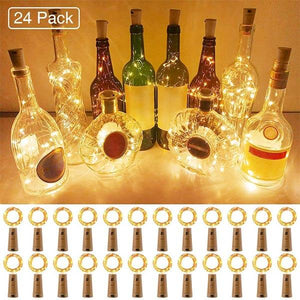 2 Meters Wine Bottle Lights 24 Pack, IP67 Waterproof Cork Lights, Battery Operated with Cork String Lights