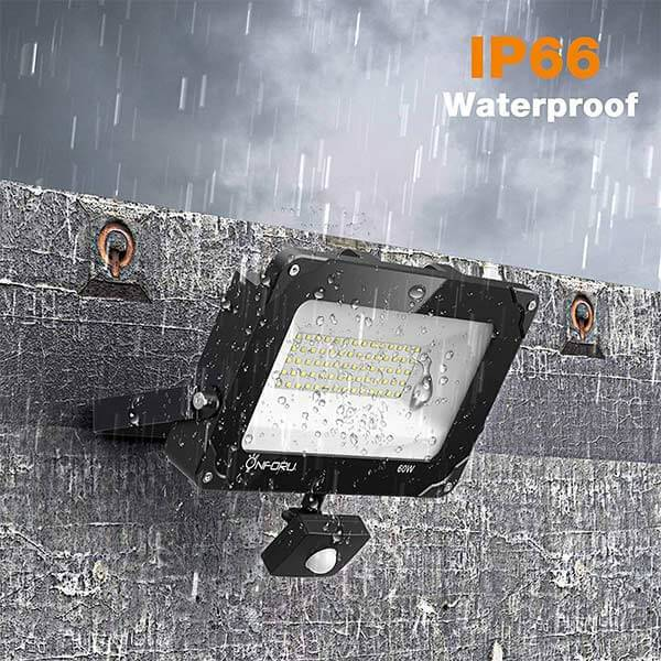 60W LED Security Lights with Motion Sensor, 6000lm IP66 Waterproof Outdoor Flood Light, 5000K Daylight White Bright PIR Floodlights