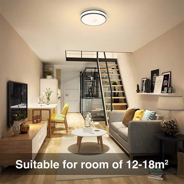 18W LED Round Ceiling Light, 90 CRI 2700K Warm White Ceiling Lamp with Flush Mount for Living Room, Bedroom, Stairway