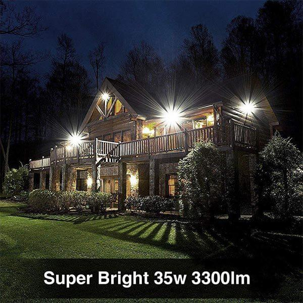 35W LED Flood Lights, Plug in 3300lm Super Bright, IP66 Waterproof White Wall Light, 5000K Daylight Security Lights