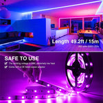 15M RGB LED Strip Lights, Music Synchronized Light Strip with 44 Keys Remote