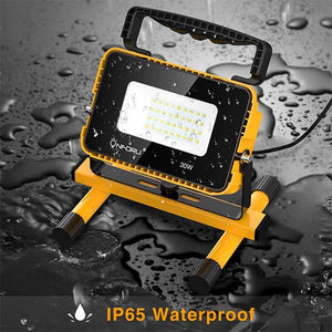 30W 3000LM LED Work Light, 300W Equivalent, IP65 Waterproof Floodlights with 5m Cord, 5000K Daylight White, Outdoor Flood Lights with Stand