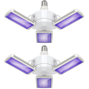 45W UV Blacklights with 3 Deformable Panels, E27 Ultraviolet Black Light Bulbs