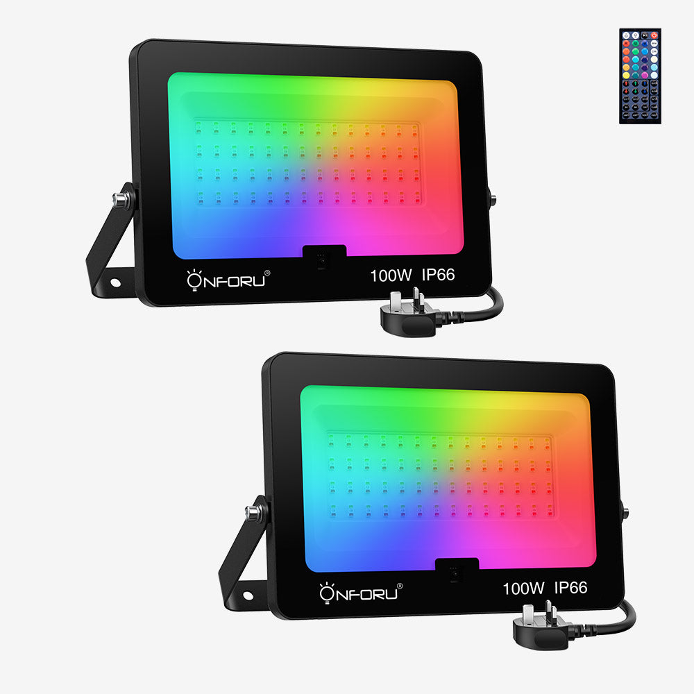 100W LED RGB Floodlights, 2 Pack Colour Changing Floodlight, IP66 Waterproof Flood Light with Remote Control.